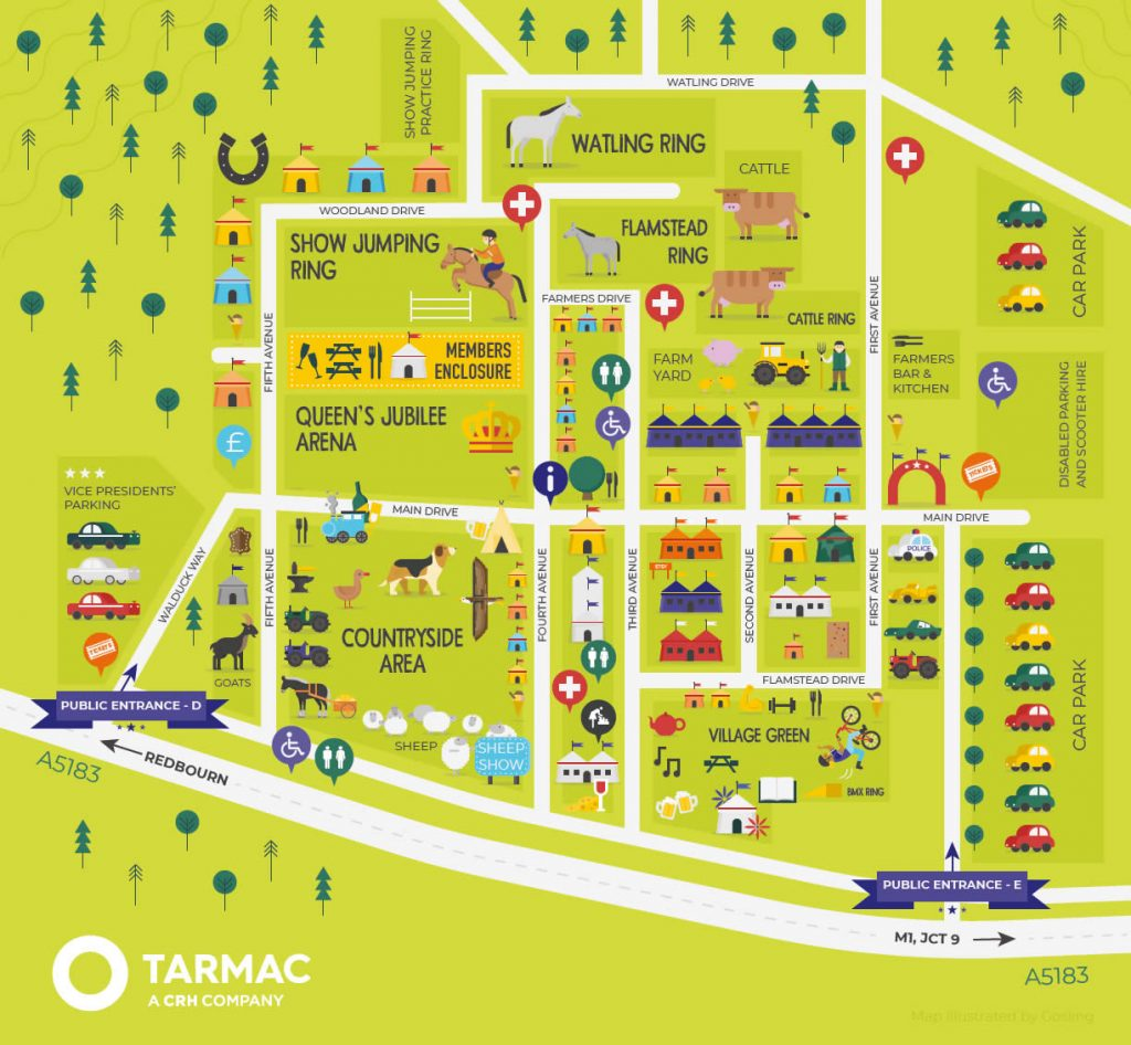 Map of Virtual Herts County Show 2020